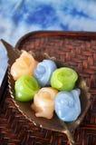 Thai Dessert on Golden Tray Royalty Free Stock Photos