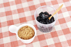 Thai dessert grass jelly with brown sugar Royalty Free Stock Photo