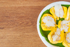 Thai dessert, jack fruit and sticky rice on wooden table Royalty Free Stock Photo