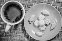 Thai Dessert Kanom Sum Pun Nee. With morning hot coffee Stock Photos