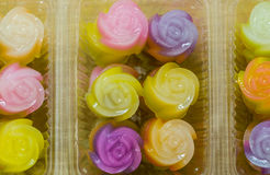 Thai dessert. Layer Cake  Kanom Chan  is a dessert of Thailand in plastic box Stock Photography
