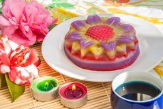 Thai dessert Layer Sweet Cake or Kanom Chan. Kind of Thai sweetmeat or Thai dessert, Multi Layer Sweet Cake or Layer Sweet Cake Kanom Chan royalty free stock image