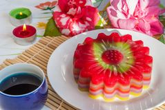 Thai dessert Layer Sweet Cake or Kanom Chan. Kind of Thai sweetmeat or Thai dessert, Multi Layer Sweet Cake or Layer Sweet Cake Kanom Chan royalty free stock photos