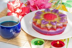 Thai dessert Layer Sweet Cake or Kanom Chan. Kind of Thai sweetmeat or Thai dessert, Multi Layer Sweet Cake or Layer Sweet Cake Kanom Chan royalty free stock photo
