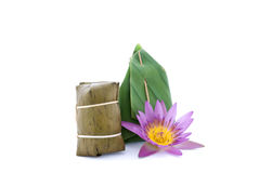 Thai dessert and lotus flower on white background Royalty Free Stock Photography