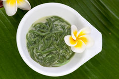 Thai dessert made from rice noodles that eaten with coconut milk Stock Images