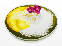 Thai Dessert, Mango with Coconut Sticky Rice and O Royalty Free Stock Photos