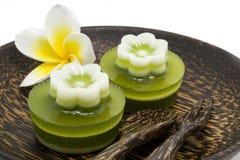 Thai dessert, pandan Jelly serve on palm wood dish Stock Photo