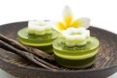 Thai dessert, pandan Jelly serve on palm wood dish Royalty Free Stock Image