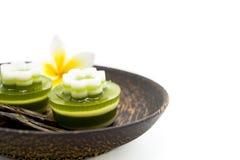 Thai dessert, pandan Jelly serve on palm wood dish Royalty Free Stock Photography