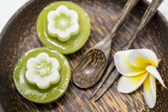Thai dessert, pandan Jelly serve on palm wood dish Royalty Free Stock Images