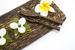 Thai dessert, pandan Jelly serve on palm wood dish Royalty Free Stock Photos