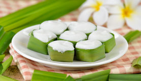 Thai dessert ,pudding with coconut topping stock images