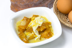 Thai dessert,pumpkin in coconut milk Royalty Free Stock Photo