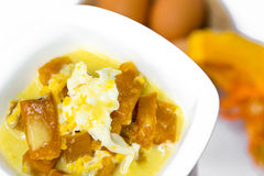 Thai dessert,pumpkin in coconut milk Stock Image