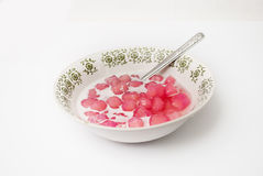 Thai Dessert - Red Rubies with Coconut Milk Stock Image