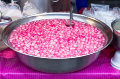 Thai dessert red sweet ruby framework in stainless steel bowl on Stock Photography