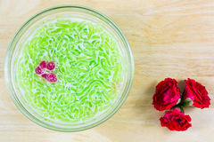 Thai dessert, rice noodles made of rice eaten with coconut milk Stock Image