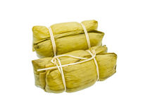 Thai Dessert, steamed Sticky Rice with banana Leaf Royalty Free Stock Photos