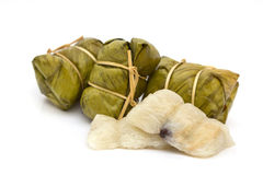 Thai dessert. (sticky rice with banana in banana leaf packaging. Stock Image