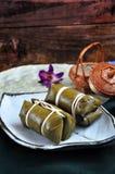 Thai Dessert Sticky Rice with Banana Filling stock photo
