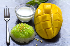 Thai Dessert - Sticky Rice with Mango Stock Photos