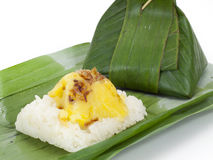 Thai dessert, Sticky rice with steamed custard Stock Image
