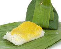 Thai dessert, Sticky rice with steamed custard Stock Photo