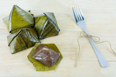 Thai dessert, Sticky rice with steamed custard. Stock Photo