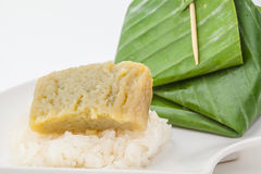 Thai dessert, Sticky rice with steamed custard, Royalty Free Stock Photos