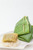 Thai dessert, Sticky rice with steamed custard, Royalty Free Stock Image