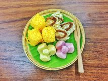 Thai dessert style put in the basket. Thai dessert so sweet is on the table royalty free stock images