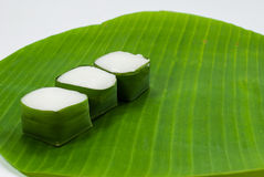 Thai Dessert sweet Coconut Milk on Banana leaf (Kanom Tako) Royalty Free Stock Photo