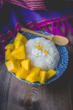 Thai Dessert Sweet Sticky Rice with Mango on Old Wooded Stock Photos