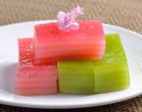 Thai dessert,thai layer cake on white plate Stock Photo