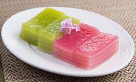 Thai dessert,thai layer cake on white plate Royalty Free Stock Photography