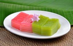 Thai dessert,thai layer cake on white plate Royalty Free Stock Photo