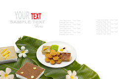 Thai dessert or thai sweets. Thai dessert ,thai sweets ,made of bean ,coconut milk and egg cooked in syrup Stock Photos