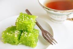 Thai Dessert. Thailand dessert, sticky rice, pandan flavored glass Stock Photos