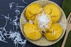 Thai Dessert. Toddy Palm Cake on wood table Khanom Tan stock image
