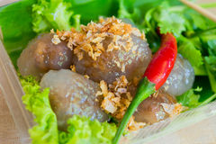 Thai dessert. Thai Traditional Dessert, Top View of Tapioca Balls Made From Glutinous Rice Filled with Minced Pork royalty free stock photos