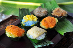Thai Dessert Various topping Sticky Rice royalty free stock photo