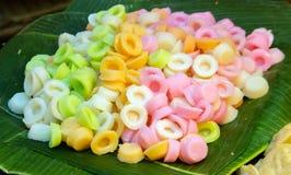 Thai dessert water flower on banana leaf Stock Photo