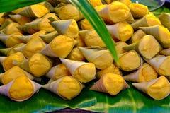 Thai dessert Yellow. Toddy Palm Cake Thai name Kanom Tarn, The thai toddy palm cake sweet taste delicious Royalty Free Stock Image