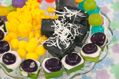 Thai desserts. With beautiful colors-sweet variety stock photos