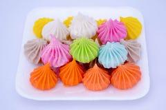 Thai desserts. Thai colorful desserts on white foam box stock images