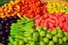 Thai Desserts Deletable Imitation Fruits. Kanom Look Choup stock photos