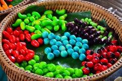 Thai desserts Deletable Imitation Fruits (Kanom Look Choup) Stock Photo