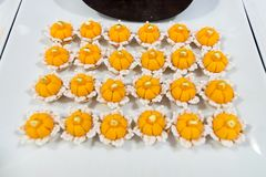 Thai desserts & x22;Golden Crown& x22; or & x22;Kanom Ja Mong Kut& x22; made in koh. Thai desserts & x22;Golden Crown& x22; or & x22;Kanom Ja Royalty Free Stock Images