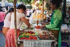 Thai desserts Shop at the fair, Bangkok, Thailand. Bangkok, Thailand - March 2, 2018: Multicolored Thai desserts Shop at the fair near the Royal Plaza and Sanam royalty free stock images